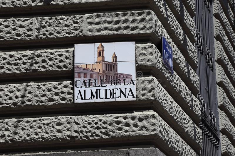 Street sign in Madrid stock images