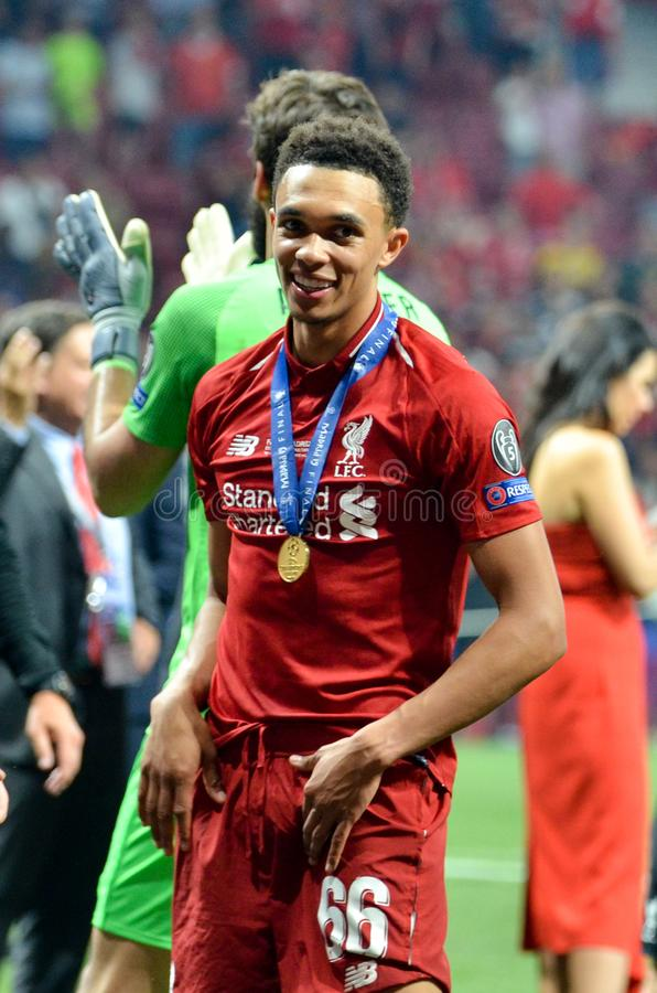 Madrid, Spain - 01 MAY 2019: Trent Alexander-Arnold celebrate their winning of the UEFA Champions League 2019 after the final game. At Wanda Metropolitano stock image