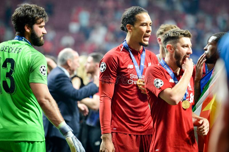 Madrid, Spain - 01 MAY 2019: Virgil van Dijk celebrate their winning of the UEFA Champions League 2019 after the final game. Against Tottenham Hotspur at Wanda stock photo