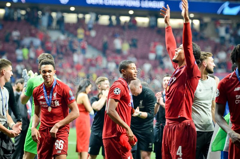 Madrid, Spain - 01 MAY 2019: Virgil van Dijk and Liverpool players celebrate their winning of the UEFA Champions League 2019 after. The final game at Wanda stock photos