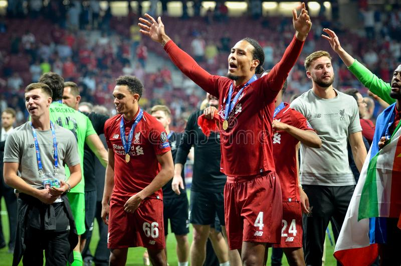 Madrid, Spain - 01 MAY 2019: Virgil van Dijk and Liverpool players celebrate their winning of the UEFA Champions League 2019 after. The final game at Wanda stock images