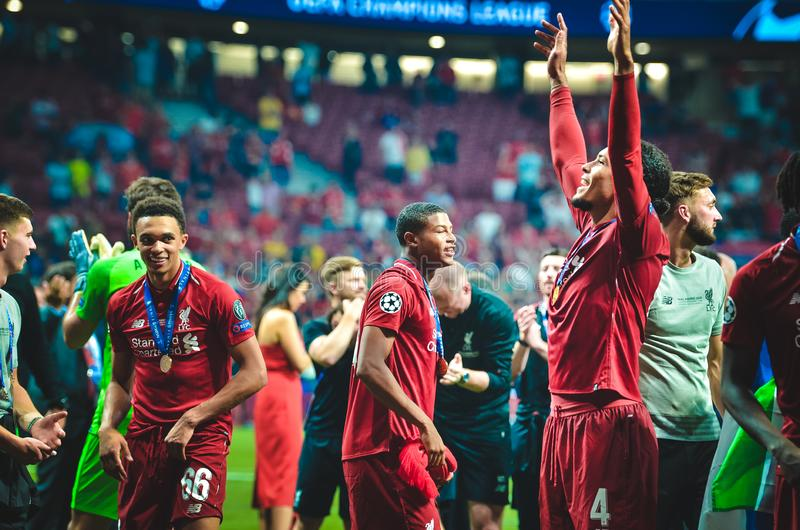 Madrid, Spain - 01 MAY 2019: Virgil van Dijk and Liverpool players celebrate their winning of the UEFA Champions League 2019 after. The final game at Wanda stock photo