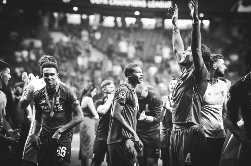 Madrid, Spain - 01 MAY 2019: Virgil van Dijk and Liverpool players celebrate their winning of the UEFA Champions League 2019 after. The final game at Wanda stock photography