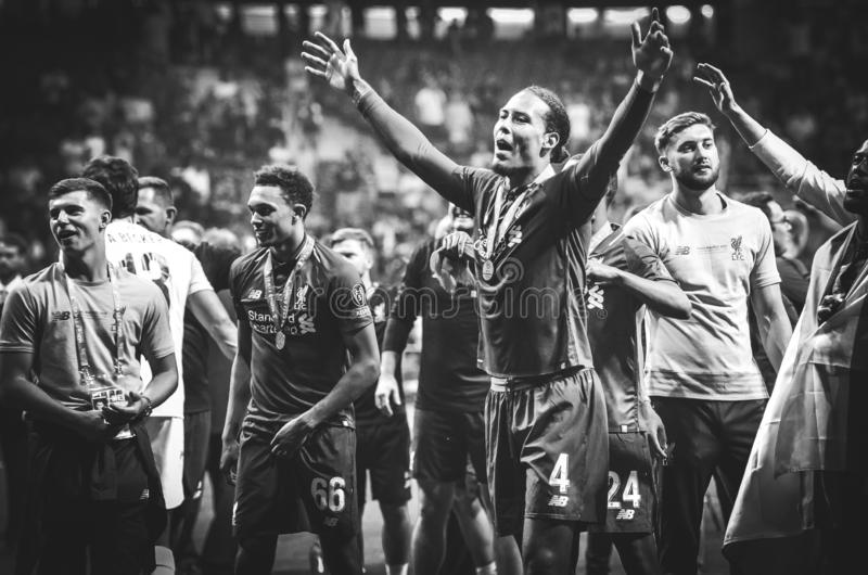 Madrid, Spain - 01 MAY 2019: Virgil van Dijk and Liverpool players celebrate their winning of the UEFA Champions League 2019 after. The final game at Wanda royalty free stock photos