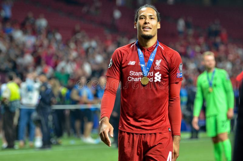 Madrid, Spain - 01 MAY 2019: Virgil van Dijk and Liverpool players celebrate their winning of the UEFA Champions League 2019 after. The final game, Spain royalty free stock images