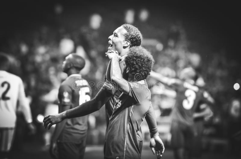 Madrid, Spain - 01 MAY 2019: Virgil van Dijk and Mohamed Salah celebrate their winning of the UEFA Champions League 2019 after the. Final game, Spain royalty free stock photography
