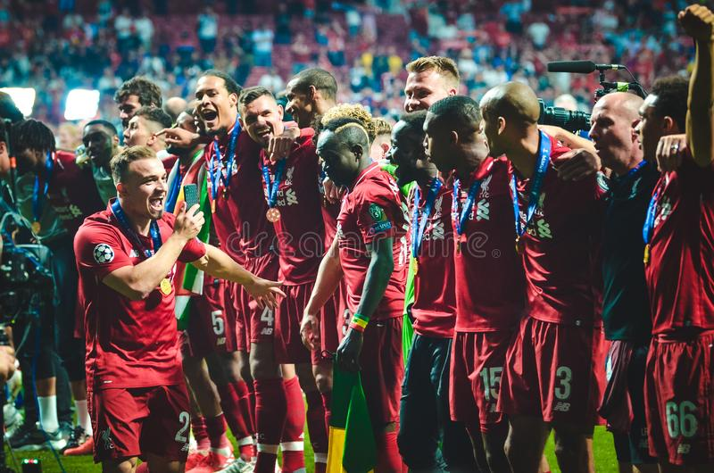 Madrid, Spain - 01 MAY 2019: Xherdan Shaqiri and Liverpool players celebrate their winning of the UEFA Champions League 2019 after. The final game against royalty free stock photo