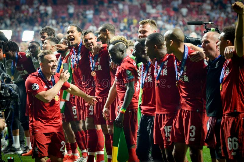 Madrid, Spain - 01 MAY 2019: Xherdan Shaqiri and Liverpool players celebrate their winning of the UEFA Champions League 2019 after. The final game against stock photo