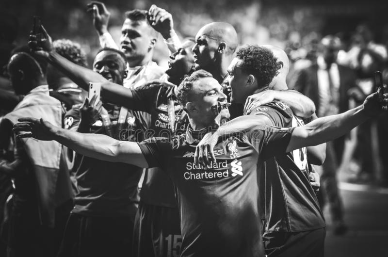 Madrid, Spain - 01 MAY 2019: Xherdan Shaqiri and Liverpool  players celebrate their winning of the UEFA Champions League 2019. After the final game against stock photos