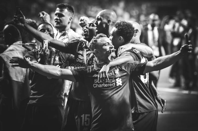 Madrid, Spain - 01 MAY 2019: Xherdan Shaqiri and Liverpool  players celebrate their winning of the UEFA Champions League 2019. After the final game against stock image