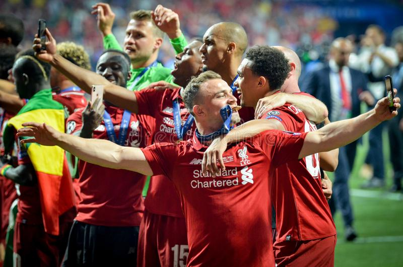Madrid, Spain - 01 MAY 2019: Xherdan Shaqiri and Liverpool  players celebrate their winning of the UEFA Champions League 2019. After the final game against stock images