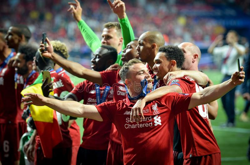 Madrid, Spain - 01 MAY 2019: Xherdan Shaqiri and Liverpool  players celebrate their winning of the UEFA Champions League 2019. After the final game against stock photo