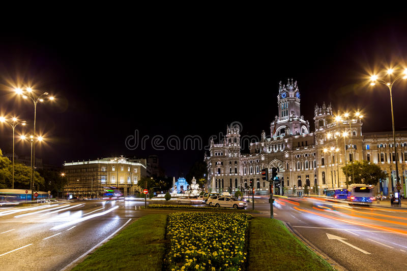 Download Madrid Spain at night stock photo. Image of palace, exterior - 27959762