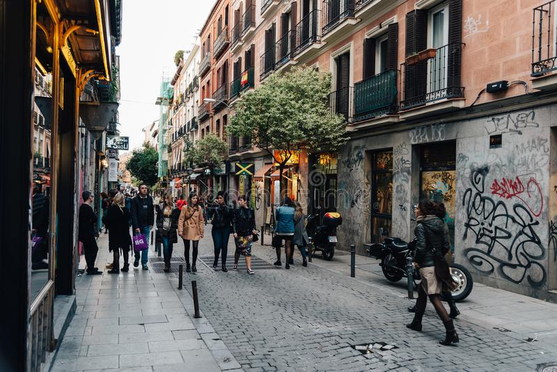 Download Street Scene In Malasana District In Madrid Editorial Stock Photo - Image of trendy, architecture: 111559043