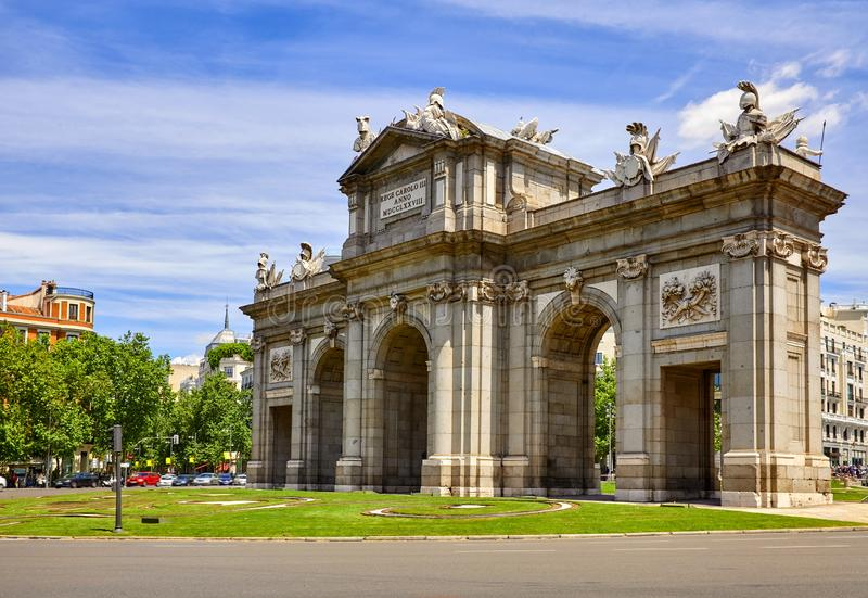 Madrid, Spain. Puerta-de-Alcala gate at Independance Square stock photography