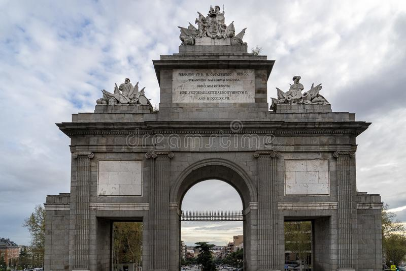 Madrid Spain puerta Toledo door. Arch stock photo