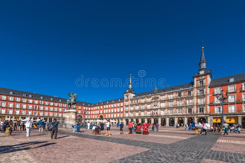 MADRID, SPAIN - SEPTEMBER 26, 2017: The Bulding of the Plaza Mayor with statue of King Philips III. Copy space for text. royalty free stock photography