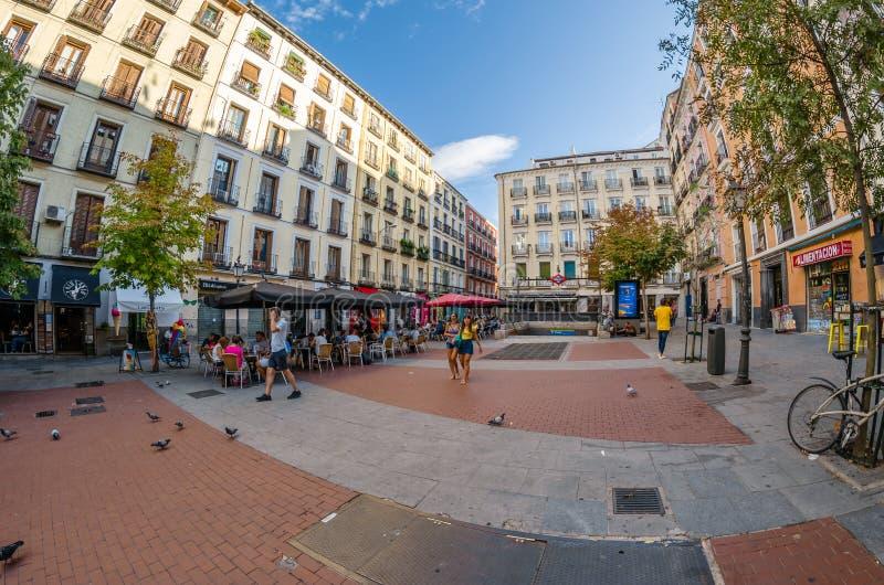 Urban scene in the lively neighborhood of Chueca, Madrid stock photography