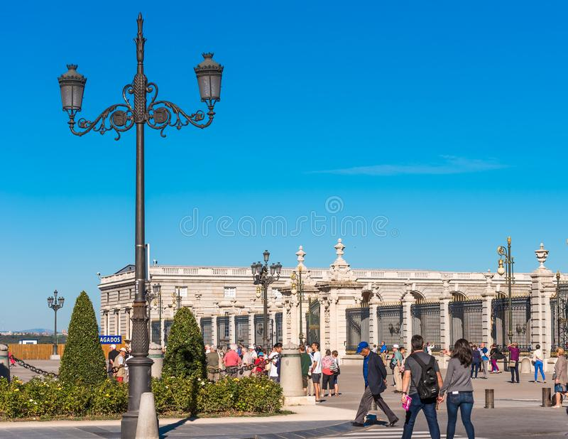 MADRID, SPAIN - SEPTEMBER 26, 2017: View of a vintage street lamp. Copy space for text. royalty free stock photo