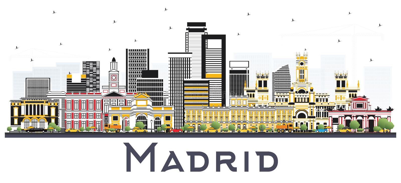 Madrid Spain Skyline with Gray Buildings Isolated on White. Background. Vector Illustration. Business Travel and Tourism Concept with Historic Architecture royalty free illustration
