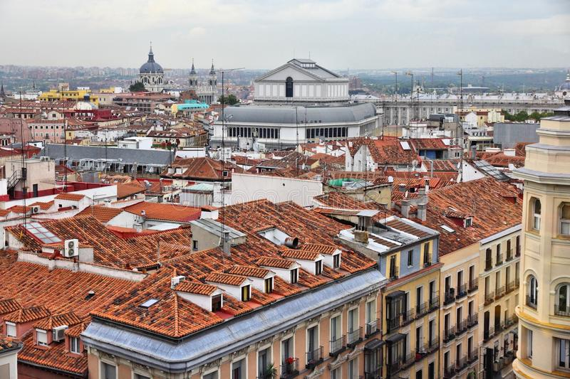 Madrid skyline, Spain. Madrid, Spain - skyline view with cathedral and opera house royalty free stock images