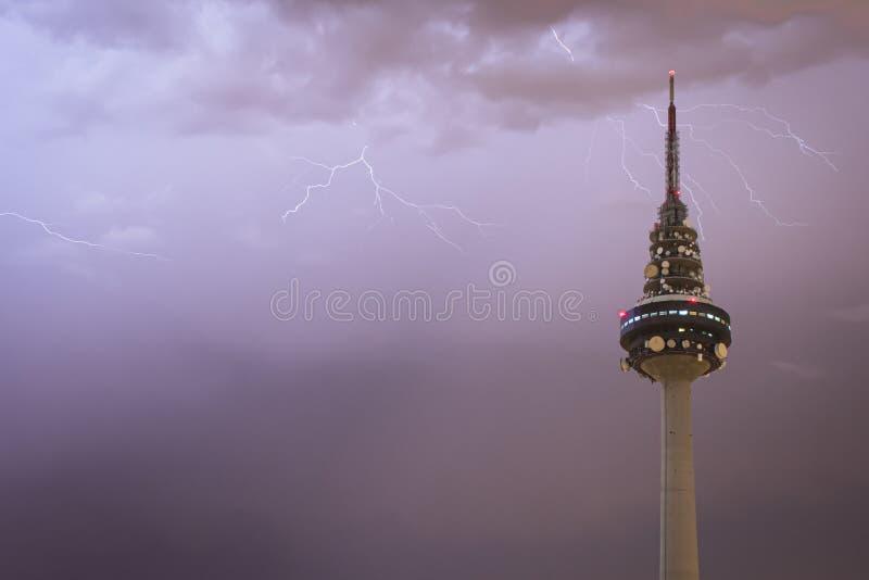 Madrid, Spain; 08/26/2016: Storm over `Torre España` building AKA `Piruli` royalty free stock photo