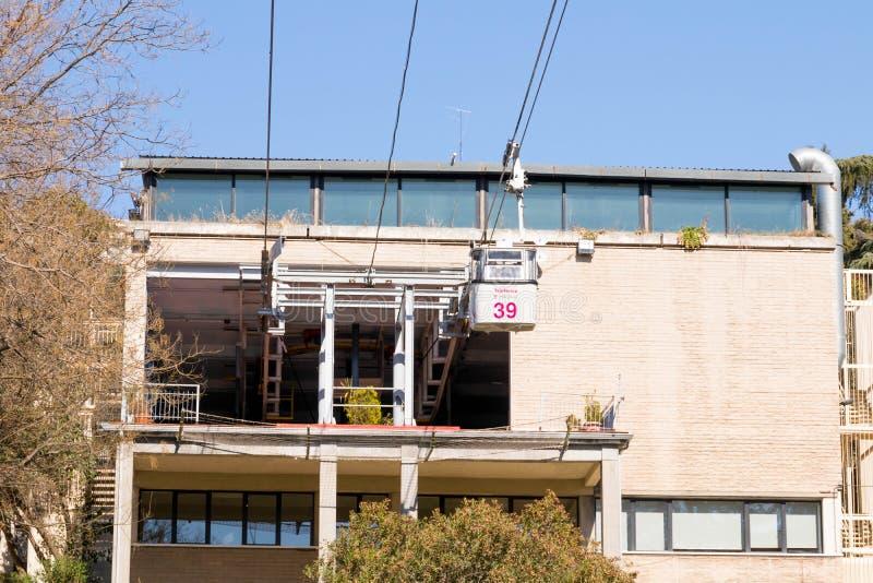 """Madrid/Spanien †""""03 03 2019: Telepherique för kabelbil av Madrid Spanien fotografering för bildbyråer"""