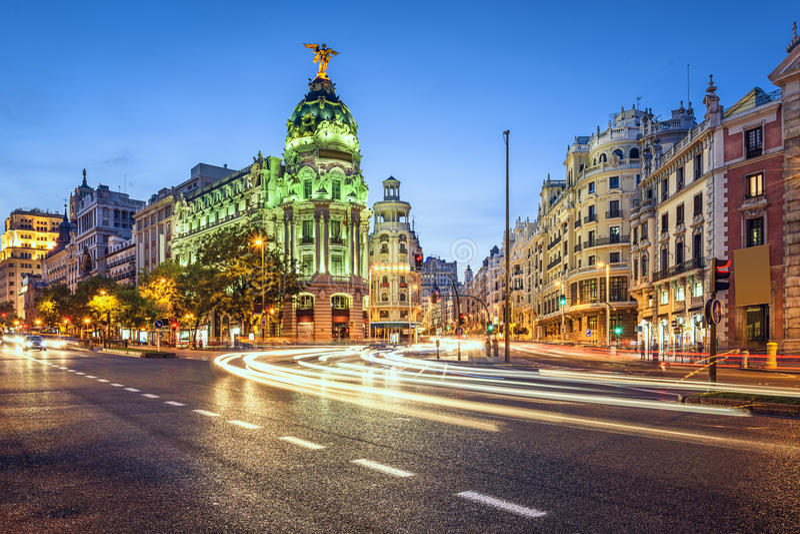 Madrid Spanien Gran via Cityscape royaltyfria foton