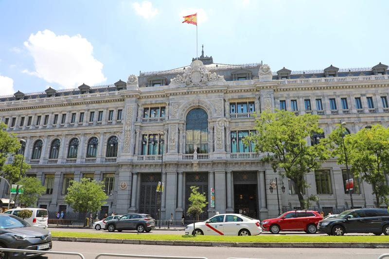 MADRID, SPANIEN - 2. JULI 2019: Historisches Gebäude von Banco de Espana Bank von Spanien die Zentralbank von Spanien stockbilder