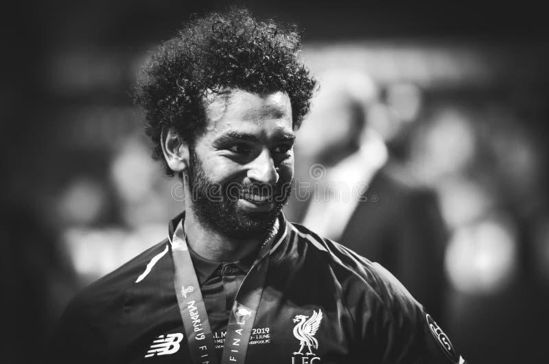 Madrid, Spanien - 01. MAI 2019:Mohamed Salah feiert ihren Sieg der UEFA Champions League 2019 nach dem letzten Spiel, Spanien lizenzfreie stockfotografie