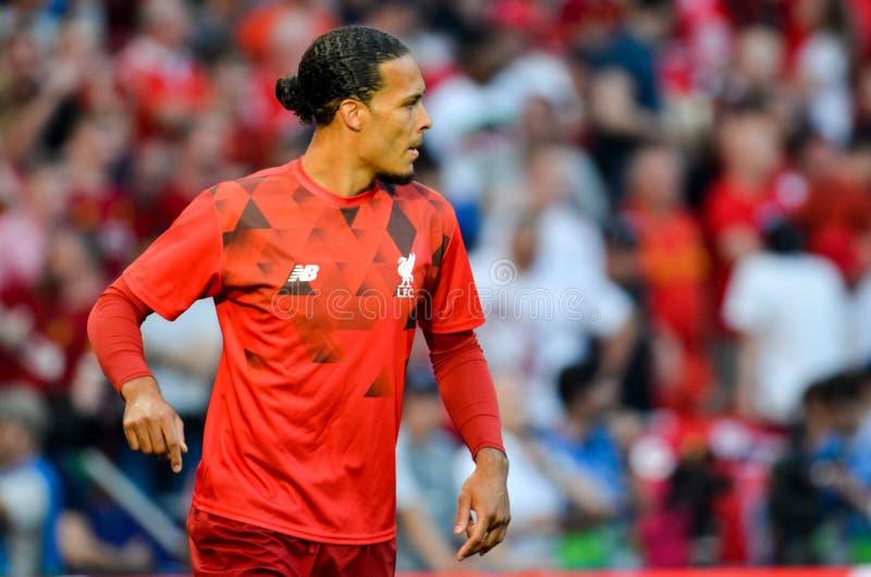 Madrid, Spanien - 1. MAI 2019: Virgil van Dijk-Spieler während des UEFA Champions League-Endspiels 2019 zwischen FC Liverpool geg lizenzfreie stockbilder