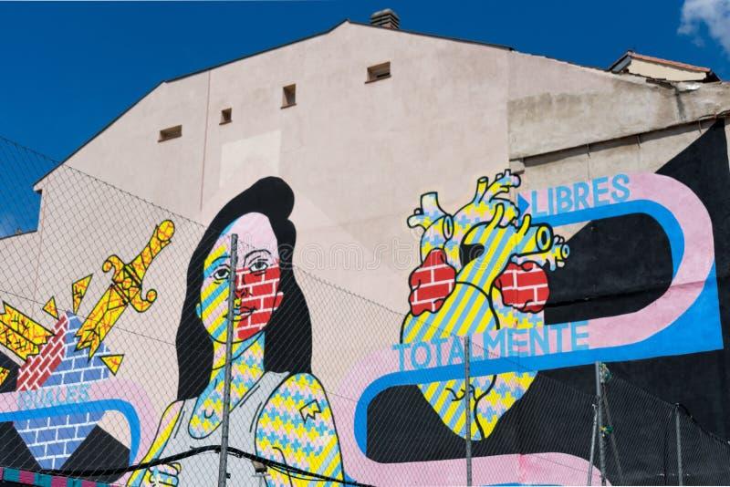 Madrid Spanien - Maj 20 2018: Grafittikonstverk i mitten av Madrid fotografering för bildbyråer