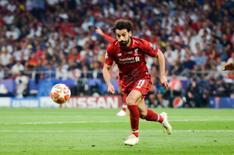 Madrid Spanien - 01 MAJ 2019: Mohamed Salah spelare under den UEFA Champions Leaguefinalmatchen 2019 mellan FC Liverpool vs arkivfoto