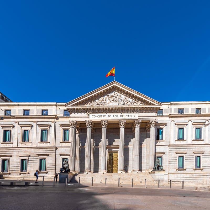 MADRID SPANIEN - SEPTEMBER 26, 2017: Palacio de las Cortes eller Congreso de los Diputados Kongress av ersättare arkivfoton
