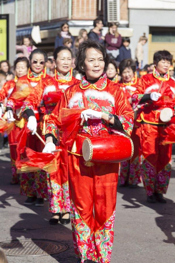 Madrid, Spanje, Chinese Nieuwjaarparade in de Usera-buurt royalty-vrije stock afbeeldingen