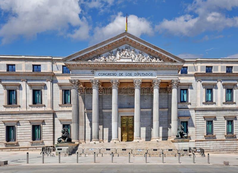 Madrid Spanje - Congres van Afgevaardigden, Congreso DE los Diputados stock afbeeldingen