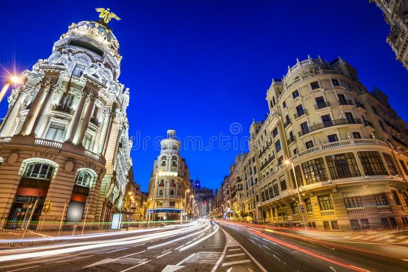Madrid, Spanje Gran via Cityscape stock fotografie