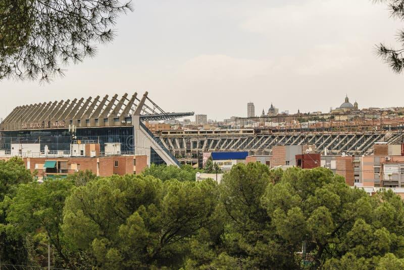 MADRID, SPANJE, 14 JULI, 2019: Vernieling van Vicente Calderón Stadium, vroeger hoofdkwartier van de voetbal van Atlético DE Madr stock afbeelding