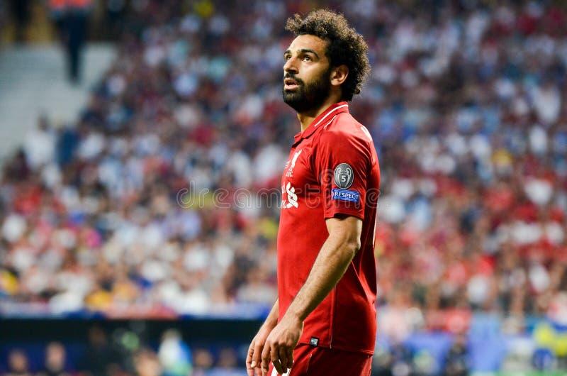 Madrid, Spanje - 01 MEI 2019: Mohamed Salah-speler tijdens de UEFA Champions League 2019 definitieve gelijke tussen FC Liverpool  royalty-vrije stock foto's