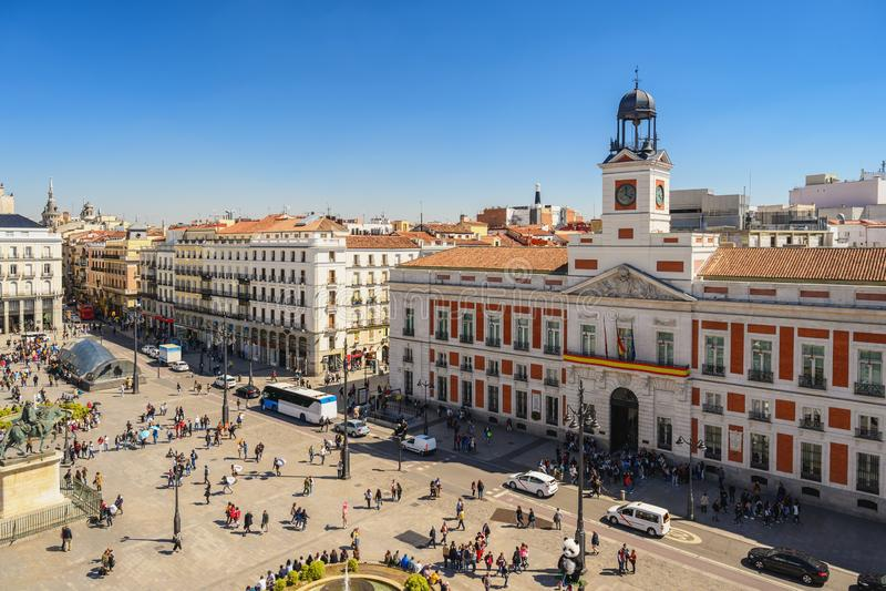 Madrid Spanje in Puerta del Sol royalty-vrije stock foto's