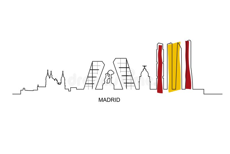 Madrid stadsgränsmärken med Spanien flaggafärger royaltyfri illustrationer