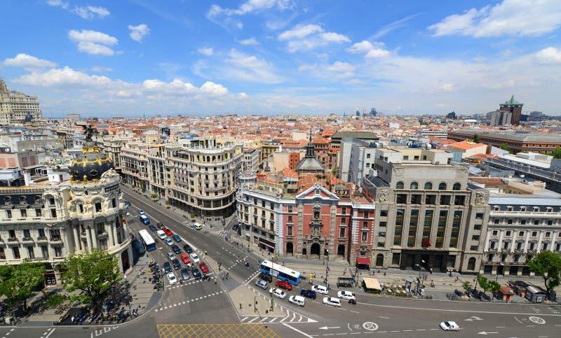 Madrid stadshorisont, Spanien royaltyfria bilder