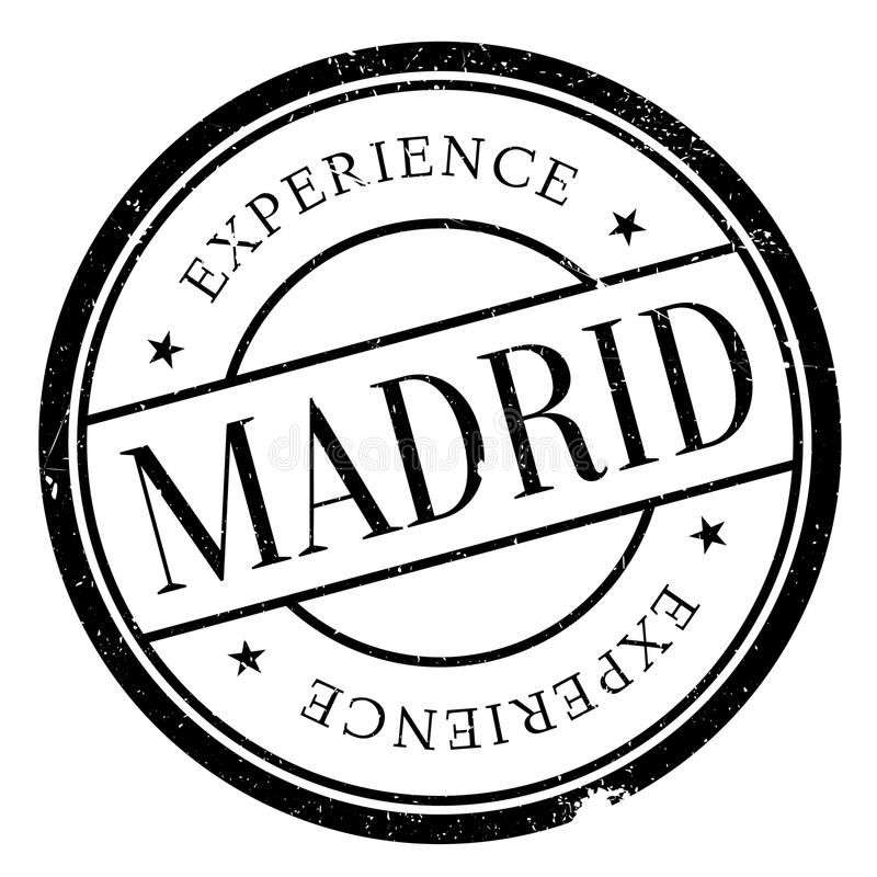 Madrid stamp rubber grunge. Madrid stamp. Grunge design with dust scratches. Effects can be easily removed for a clean, crisp look. Color is easily changed stock illustration