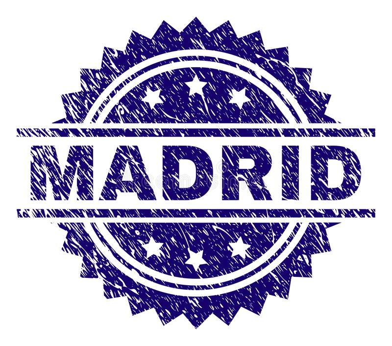 Scratched Textured MADRID Stamp Seal. MADRID stamp seal watermark with distress style. Blue vector rubber print of MADRID tag with scratched texture stock illustration