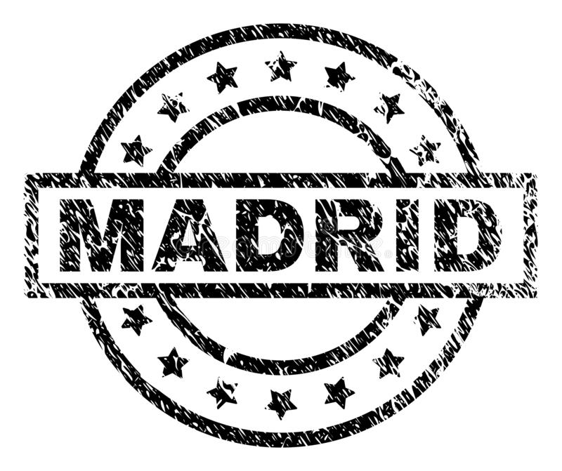 Grunge Textured MADRID Stamp Seal. MADRID stamp seal watermark with distress style. Designed with rectangle, circles and stars. Black vector rubber print of stock illustration