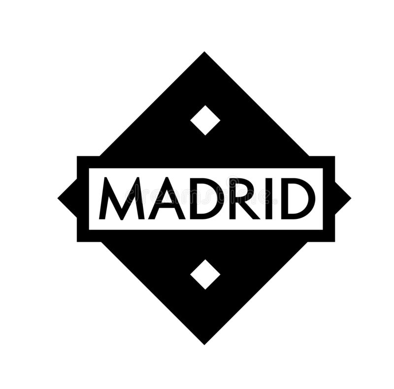 MADRID stamp on white. Background. Labels and stamps series stock illustration