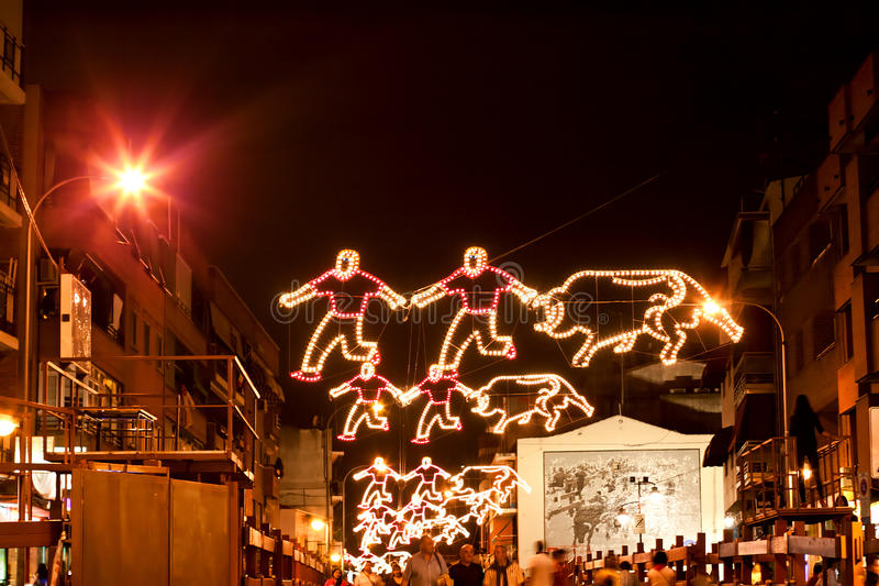 MADRID SUBURB OF SAN SEBASTIAN DE LOS REYES - SEPTEMBER 29: Illumination on the street in San Sebastian de los Reyes during. Festival, Spain in 2013. Fiesta royalty free stock images