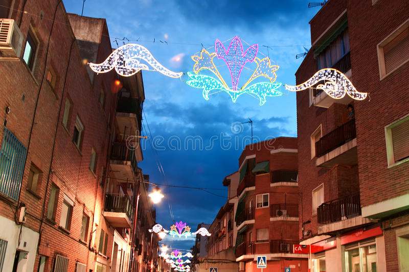 MADRID SUBURB OF SAN SEBASTIAN DE LOS REYES - SEPTEMBER 29: Illumination on the street in San Sebastian de los Reyes during. MADRID SUBURB OF SAN SEBASTIAN DE royalty free stock photo