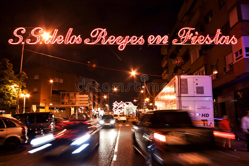 MADRID SUBURB OF SAN SEBASTIAN DE LOS REYES - SEPTEMBER 29: Illumination on street in San Sebastian de los Reyes during. Festival, Spain in 2013. Fiesta called stock photo