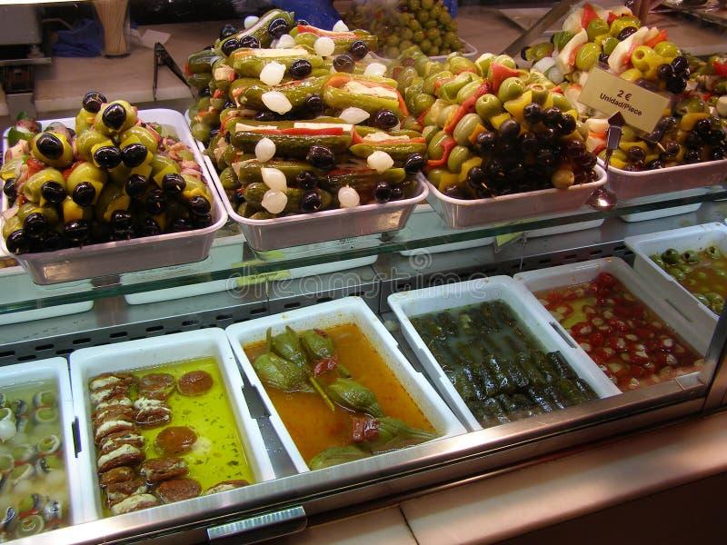 Madrid Tapas i Mercado de San Miguel Spain royaltyfri foto